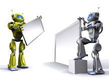Robot with empty billboard Stock Photos