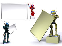 Robot with empty billboard Stock Photos