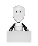 Robot with empty board. Nice 3d white robot toy with empty board Royalty Free Stock Photography