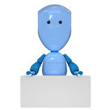 Robot with empty board. Nice blue robot toy with empty board royalty free illustration