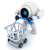 Robot and empty cart Royalty Free Stock Photo