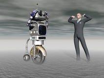 Robot en een mens in de concurrentie - het 3d teruggeven Stock Foto
