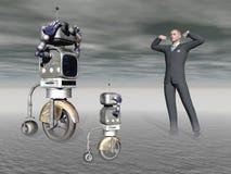 Robot en een mens in de concurrentie - het 3d teruggeven Royalty-vrije Stock Afbeelding