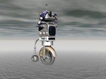 Robot en een mens in de concurrentie - het 3d teruggeven Stock Foto's