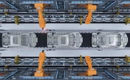 Robot en fábrica del coche stock de ilustración