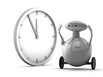 Robot en klok Royalty-vrije Stock Fotografie