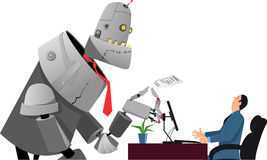Robot en la entrevista de trabajo Imagen de archivo libre de regalías