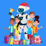 Robot en los niños de Santa Claus Hat And Gifts With que suenan el vector de Bell Ilustración aislada libre illustration