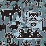 Robot en monsters leuk naadloos patroon. stock illustratie