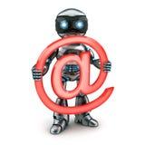 Robot en teken e-mail Royalty-vrije Stock Foto's