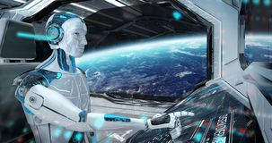 Robot en una sala de control que vuela una nave espacial moderna blanca con la opinión de la ventana sobre la representación del  stock de ilustración