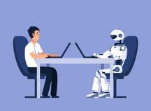 Robot en zakenman Robots versus menselijk, toekomstig vervangingsconflict Ai, kunstmatige intelligentie vectorconcept vector illustratie