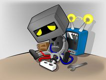 Robot energy charge Stock Images