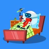 Robot enfermo con la bufanda caliente alrededor del cuello y el termómetro en vector de la boca Ilustración aislada