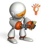 Robot is enjoying using the smart phone. Royalty Free Stock Photography