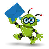 Robot with Envelope Royalty Free Stock Images