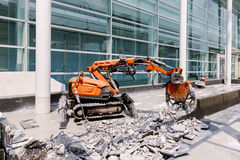 Robot Equipment is destroying the floor In construction zone.  stock image