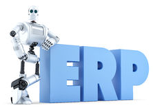 Robot with ERP sign. Business Technology concept. Isolated. Contains clipping path. Robot with ERP sign. Business Technology concept. Isolated over white Stock Image
