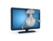 Robot escaping tv. 3D illustration of a robot escaping a flat television screen, isolated on a white background Royalty Free Stock Images