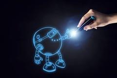 Robot esquissé drôle photographie stock