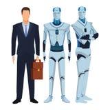 Robot et homme d'affaires de humano?de illustration stock