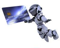 Robot et par la carte de crédit illustration de vecteur