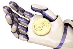 Robot et pièces de monnaie Photographie stock libre de droits