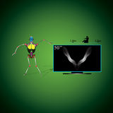 Robot et TV Images libres de droits