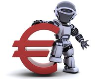 Robot with euro symbol Royalty Free Stock Photography