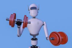 Robot is exercising with dumbbells 3d rendering Stock Images