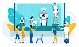 Robot Exhibition. Museum Tech Demonstration. Flat. Robot Exhibition. Museum Tech Demonstration for Group of Children. Autonomus Smart Android Artificial stock illustration