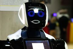 Robot EXPO Robopolis in Minsk, Belarus modern cyber robot humanoid. Minsk, Belarus - 26, february: Robot EXPO Robopolis in Minsk, Belarus modern cyber robot royalty free stock image