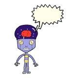robot extraño de la historieta con la burbuja del discurso libre illustration