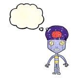 robot extraño de la historieta con la burbuja del pensamiento stock de ilustración