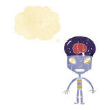 robot extraño de la historieta con la burbuja del pensamiento ilustración del vector