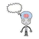 robot extraño del cartoonw con la burbuja del discurso stock de ilustración