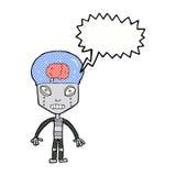 robot extraño del cartoonw con la burbuja del discurso ilustración del vector
