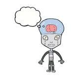 robot extraño del cartoonw con la burbuja del pensamiento libre illustration