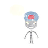 robot extraño del cartoonw con la burbuja del pensamiento stock de ilustración
