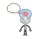 robot extraño del cartoonw con la burbuja del pensamiento ilustración del vector