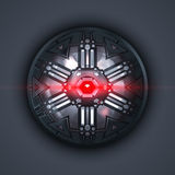 A robot eye with red light beam Royalty Free Stock Images