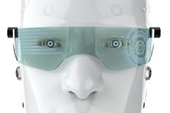 Robot with eyeglasses. 3d rendering cyborg with hud on eyeglasses vector illustration
