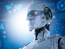 Robot with eyeglasses. 3d rendering cyborg with hud on eyeglasses stock illustration