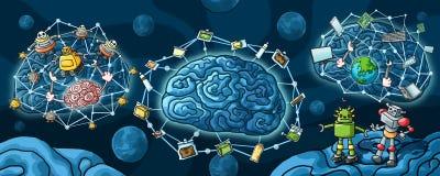 Robot för konstgjord intelligens och hjärnmålarfärg vektor illustrationer