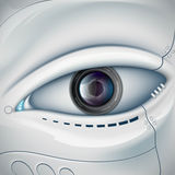 Robot face with the camera lens in the eye. Stock  futuris. Tic illustration Stock Images