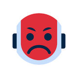 Robot Face Icon Angry Face Emotion Robotic Emoji. Robot Face Icon Sad Face Dissappointed Emotion Robotic Emoji Vector Illustration Stock Photography