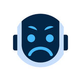 Robot Face Icon Angry Face Emotion Robotic Emoji. Vector Illustration Stock Image