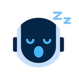 Robot Face Icon Napping Tired Face Emotion Robotic Emoji. Vector Illustration Royalty Free Stock Photos