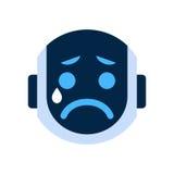 Robot Face Icon Sad Face Crying Emotion Robotic Emoji. Vector Illustration Royalty Free Stock Photo
