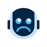 Robot Face Icon Sad Face Dissappointed Emotion Robotic Emoji. Vector Illustration Stock Photos